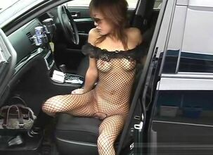 Fishnet dress in public